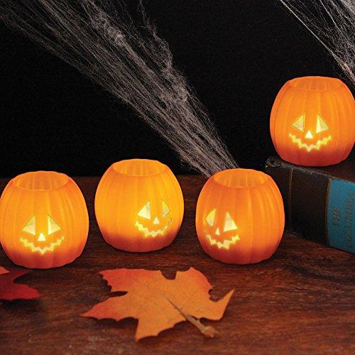 halloweenish o lantern tea lights set 4 decorative led pumpkin light